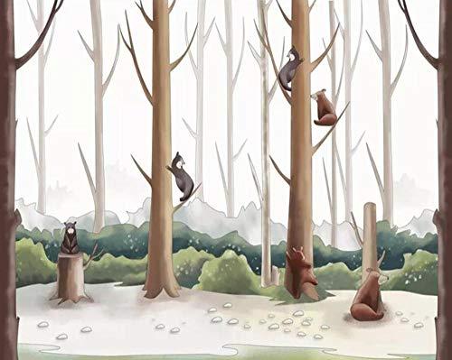 Behang vliesbehang zijde 3D beer wekker handgeschilderd op bestelling van het bos van de strip, die het behang om te klimmen in de woonkamer van de muur in de bodem van de boom De 250*175