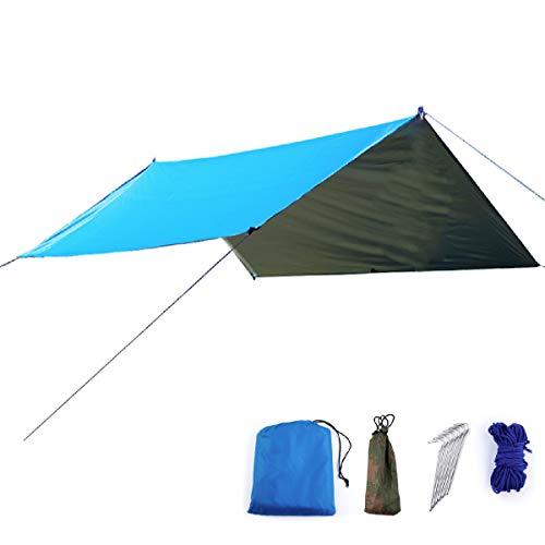 TRIWONDER Tarp 3 x 3 m Bâche de Camping Toile de Tente Imperméable Bâche Anti-Pluie Abri de Randonnée Auvent Abri Léger pour Pique-Nique Plage (Bleu)