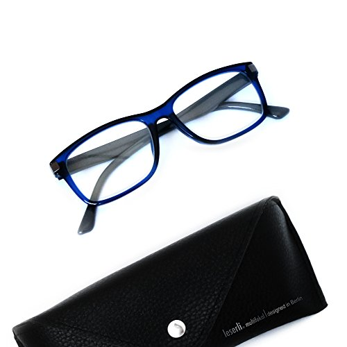 Arbeitsplatzbrille Nahbereichsbrille PC-Brille Computerbrille erweiterter Lesebereich, Federscharnier, Etui, schwarz oder blau Lerserli® Lesebrille (+2.0, blau)