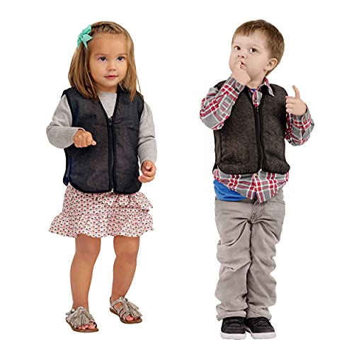 ZooVaa Weighted Sensory Vest for Kids, Children's Compression Vest w/Removable Weights for Boys and Girls Brown