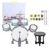 Fournyaa Juguete de batería, batería de plástico para niños, Instrumento Musical de Regalo de cumpleaños para niños de 1 a 6 años, niñas y niños(Blue)