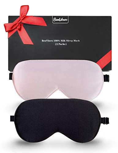 Silk Sleep Mask, 2 Pack Natural Silk Eye Mask with Adjustable Strap, Sleeping Aid Blindfold for Nap, BeeVines Eye Sleep Shade Cover, 100% Blocks Light Reduces Puffy Eyes Gifts for Christmas
