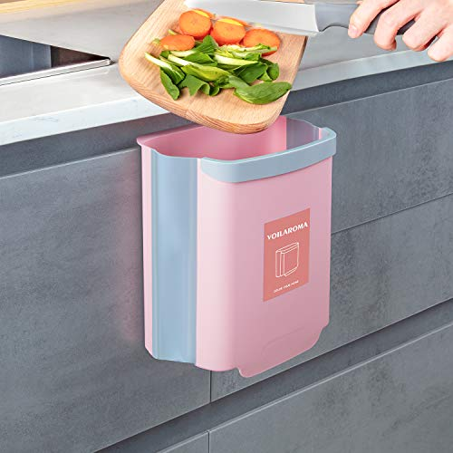 Hanging Cabinet Trash Can Collapsible Kitchen Garbage Can for Cupboard Car Bathroom(Pink, Small)