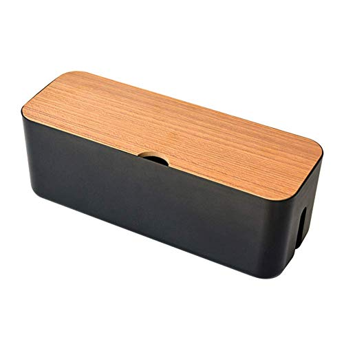 Caja de almacenamiento para cables, forma rectangular, caja para organización de cables de escritorio, antipolvo, caja organizadora de cables ideal para el hogar, negro