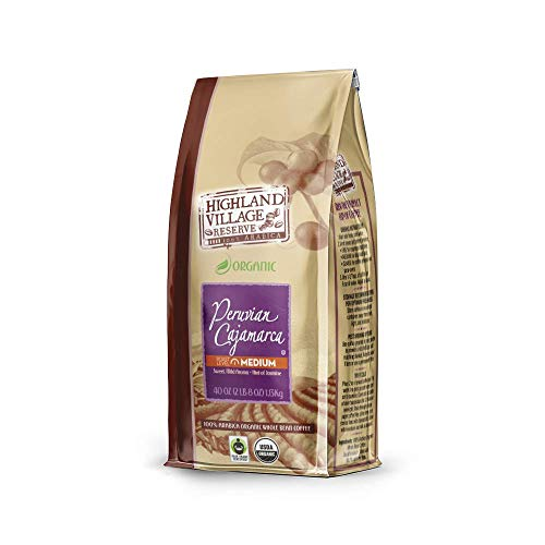 HIGHLAND VILLAGE RESERVE Whole Bean Coffee, Peruvian Cajamarca, Medium Roast, 40 Ounce Bag | USDA Organic, Fair Trade, 100% Arabica Coffee Beans