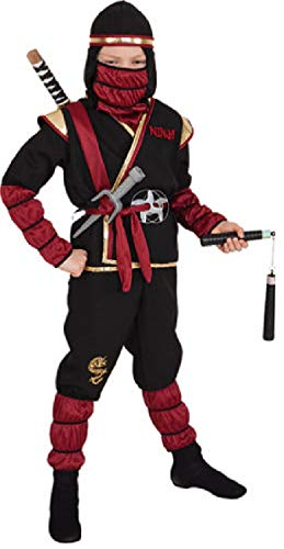 narrenkiste O5272-152-164 - Disfraz de ninja samurai (6 piezas, tallas 152-164), color negro y rojo