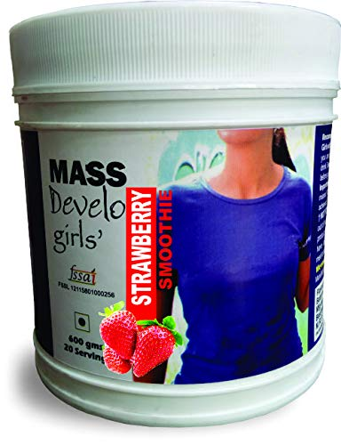 Develo Weight Mass Gainer Protein Shake Powder for Fast Gain in women girls, Nutrition Food Supplement, Health Drink with Natural Fat Energy I 27 Vitamins & Minerals I 600gm Strawberry Flavour