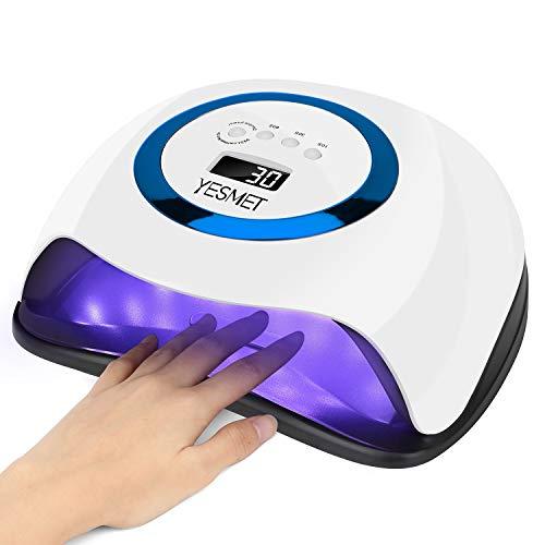 168W Nageltrockner YESMET UV Nageltrockner Lampe für Fingernagel und Zehennagel,10/30/60/99s Timer, Abnehmbarer Tragbarer Nageltrockner mit Infrarot Sensor LCD Display, für Haus und Salon-Blau