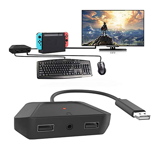 Keyboard and Mouse Adapter with 3.5mm Audio Jack Compatible with Nintendo Switch, Xbox One, PS4, PS3. Perfect for Games Like FPS, TPS, RPG and RTS, etc.