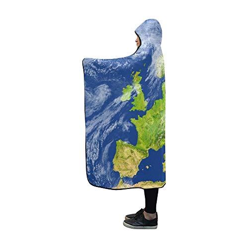 JOCHUAN Couverture à Capuche Europe 3 D Détail de la Surface de la planète Couverture 60x50 Pouces Comfotable Wrap à Capuche