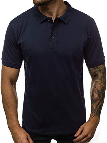 OZONEE Herren Poloshirt Polo Shirt Polohemd T-Shirt Tee Kragen Klassisches Hemd Casual Kurzarm Baumwolle Freizeithemd Kurzarmshirt Herrenhemd Breezy 171221 DUNKELBLAU L