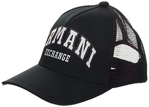Armani Exchange Herren Logo Patch TRKR-MESH Baseball Cap, Schwarz (Nero-Black 00020), One Size (Herstellergröße: TU)
