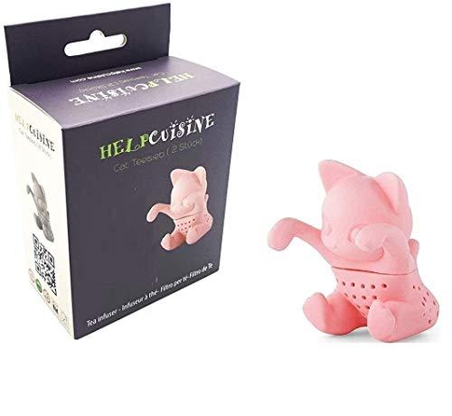 HelpCuisine® teesieb teeei teefilter Tea Infuser teekugel, teefilter (Katze) (1St. Rosa)