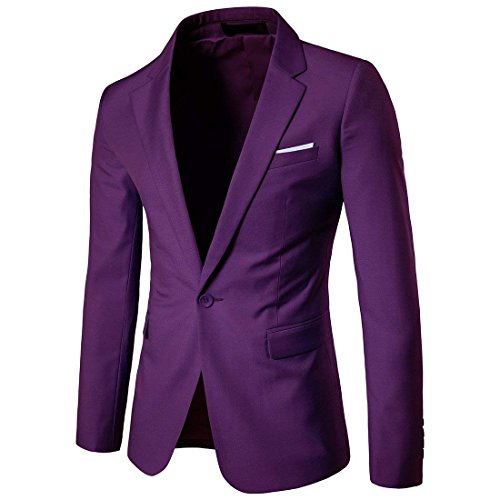 Cloudstyle Men's Suit Jacket One Button Slim Fit Sport Coat Business Daily Blazer Medium Purple
