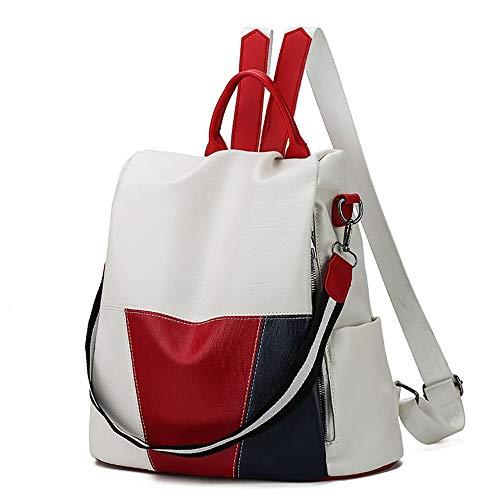 Angle-w Diseño elegante, viaje simple, mochila de cuero para mujer, mochila de viaje antirrobo, bolsas de capacidad bombastic Let us ir más allá (color: blanco, tamaño: 32 x 32 x 15 cm)