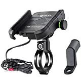 iMESTOU Motorcycle Phone Mount Charger USB 3.0 Socket Handlebar/ Rear-View Mirror Cellphone Holder Charger...