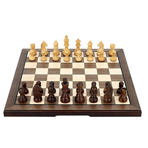 European Chess Set, Folding Wooden Standard Travel International Chess Game Board Set, Wooden Set With Crafted (Intellectual Thinking)