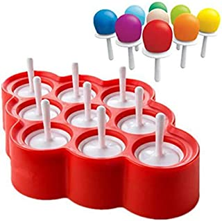 Udepot 9 Cavity Silicone Popsicle Molds DIY Ice Cream Maker with Sticks and Drip-guards Easy-release BPA-free Homemade Mini Ice Pop Mold for Kids,Family,Adults(red)