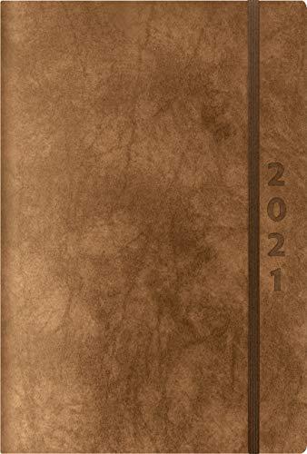 ReLeather Daily braun 2021: Terminplaner groß. DIN A5 Termin-kalender mit Vintage-leder und Tageskalendarium.