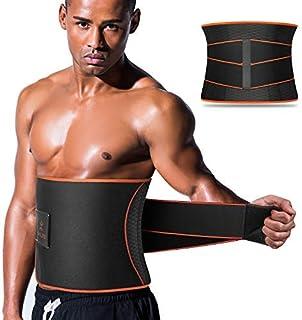 اصلاح کننده کمر سونا VOHUKO ، مربی دور کمر مردانه ، کمربند Sweat AB با تسمه های فشار قابل تنظیم ، پشتیبانی از کاهش وزن پشت کمربند انعطاف پذیر حرکت Neoprene