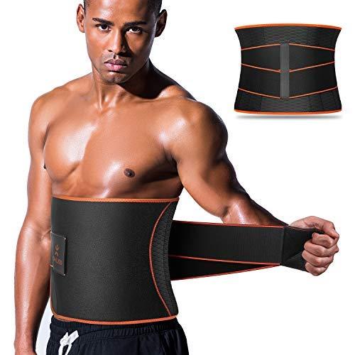 Sauna Waist Trimmer, Wide Men Waist Trainer, Sweat AB Belt with Adjustable Pressure Straps, Weight Loss Back Support Neoprene Motion Splicing Belt ( L 32-41 inch)
