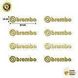 Pegatinas BREMBO Adhesivo ANTICALÓRICO para Pinzas DE Freno Kit 8 Unidades Stickers BREMBO para Coche Moto Decals Autocollants Adesivi (Dorado)