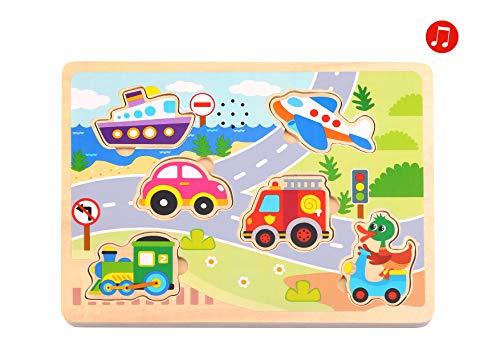 Tooky Toy Jeux en bois - Puzzle sonore en bois véhicules, Multicolore