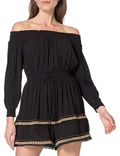Superdry Ameera Off Shoulder Playsuit Vestido, Negro, L para Mujer