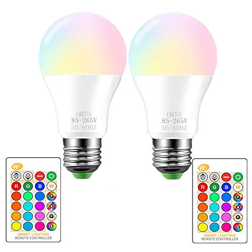 RGBW Color Changing LED Light Bulbs, A19 E26 Screw Base IR Remote Control Dimmable with Memory Function 60W Equivalent for Home Decoration Stage Bar Party (RGB+Daily Lighting, 2-Pack)