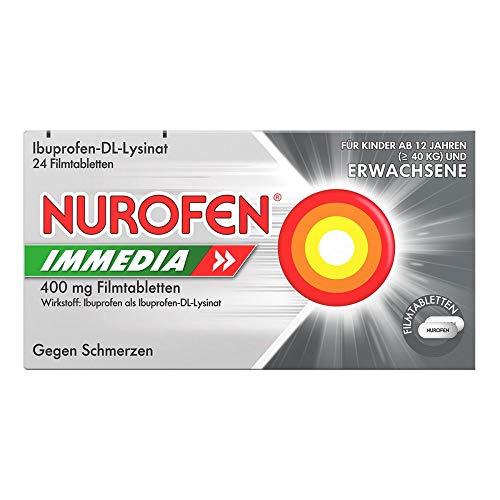 Nurofen Immedia 400mg Filmtabletten – Kombiniertes Schmerzmittel aus Ibuprofen und Lysin für schnelle Hilfe bei Schmerzen – 1 Packung mit 24 Stück