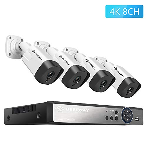 DEFEWAY 4K Security Camera System, 8CH 8MP Video DVR (2TB Hard Drive) with 4 x 4K Ultra HD 8-Megapixel Outdoor IP67 Weatherproof Bullet Security Cameras, 130ft Night Vision, Remote Monitoring