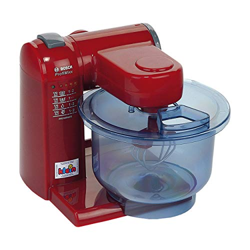 Theo Klein 9556 Robot de cocina Bosch, Robot de cocina a pilas con 2 velocidades, Medidas: 20 cm x 22 cm x 20 cm, Juguete para niños a partir de 3 años