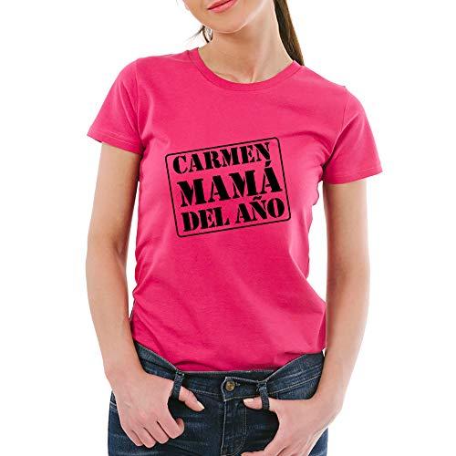 Calledelregalo Regalo para Madres Personalizable: Camiseta 'mamá del año' Personalizada con su Nombre y el tuyo (Rosa)