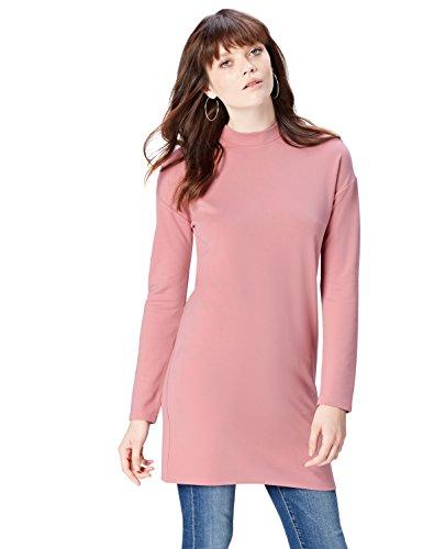 Amazon-Marke: find. Damen Kleid mit hohem Kragen, Rosa (Old Rose), 42, Label: XL
