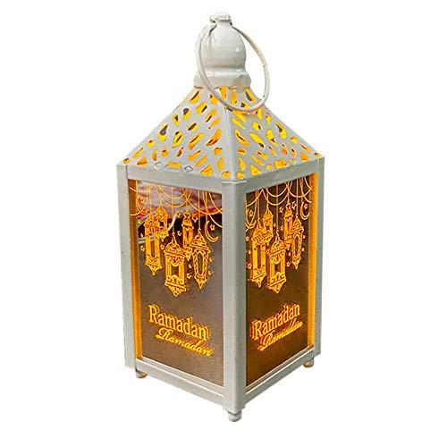 Eid Ramadan Mubarak Candle Lantern, Outdoor Retro Candle Holder, Hollow Metal Art Hanging Lantern...