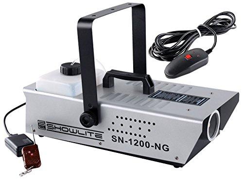 Showlite SN-1200 Nebelmaschine (1200W, 500m³ Nebelausstoß/min, 7 Min. Aufwärmzeit) inkl. Funk Fernbedienung