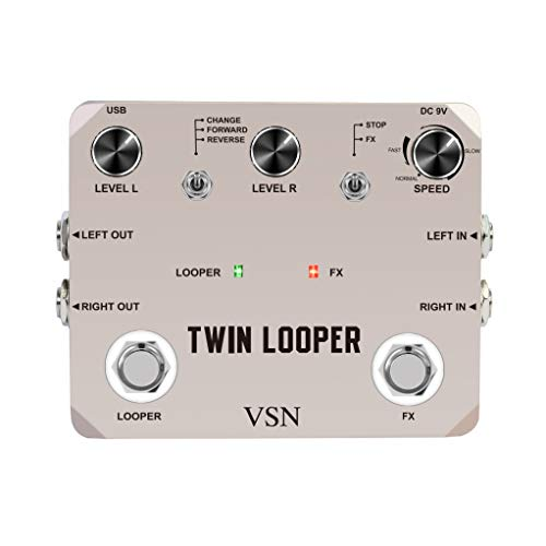Twin Looper Electric Guitar Effect Pedal Loop Station 11 Types of Play with 10 Minutes of Recording Time
