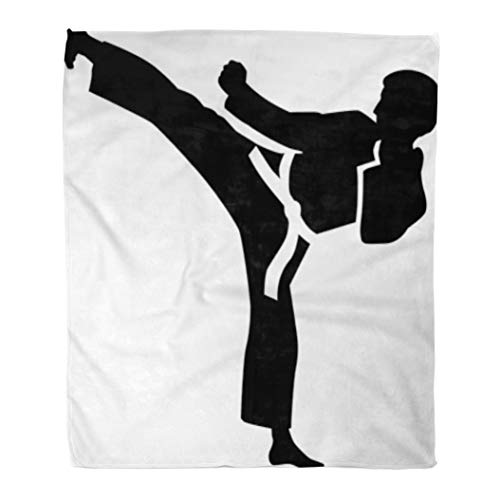 Golee Throw Blanket Taekwondo Karate Kick Judo Silhouette Fight Jujitsu Martial Aikido Training 50x60 Inches Warm Fuzzy Soft Blanket for Bed Sofa
