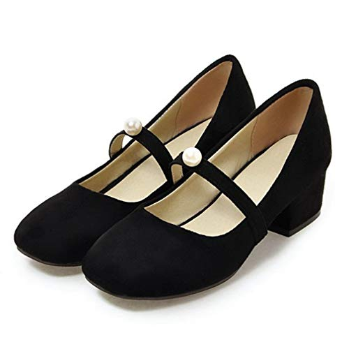 Womens Mary Jane Pumps Block Low Heel Ankle Strap Closed Toe Suede Work Dress Shoes Black
