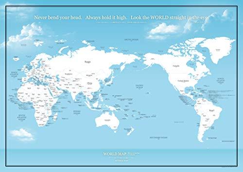 ミニマルマップ デザイナーズMAP 世界地図 シンプル で おしゃれ な インテリア ワールド マップ (A2, 空色)