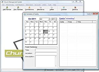 Church Management Software Professional System; Church Facilities, Office, Bookkeeping and Finances Administration Software; Windows Only CD-ROM; Multiuser License (100,000 Members) - 5 User Licenses