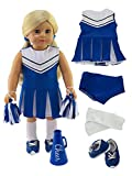 Blue Cheerleader Outfit Cheerleading Uniform with Dress, Bloomers, Poms, Megaphone, Socks, and Shoes fits 18 Inch Doll
