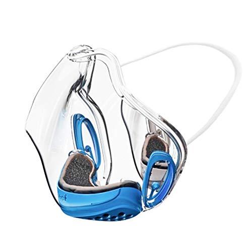SPORTTIN 1PC Adult Women Men Face Protection Durable Combine Plastic Reusable Clear Visible Breathable Adjustable(Blue)