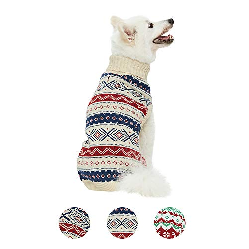 Blueberry Pet 2020 New Holiday Christmas Everyday Turtleneck Fair Isle Fall Winter Pullover Dog Sweater in Creamy White, Back Length 10', Warm Clothes for Small Dogs