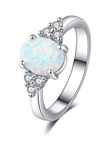 0.40CT Oval corte blanco ópalo CZ diamante compromiso/boda anillo 925 joyería de piedras preciosas para las mujeres