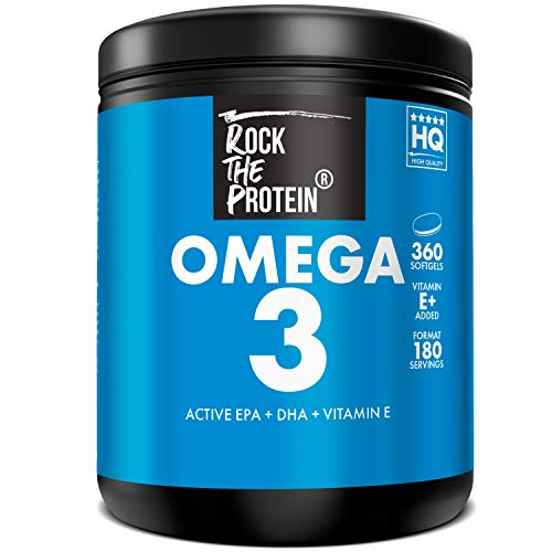 RTP  OMEGA 3 + Vit E  360 Capsule di Olio di Pesce Premium  Dose da 2000mg ad Alta Biodisponibilità  EPA e DHA ad Alta Concentrazione