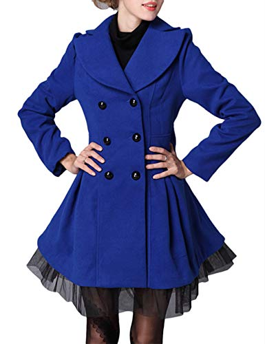 xxxiticat Womens Slim Fit Double Breasted Coat Long Sleeve Fitted Tulle Hemline Wool Jacket(BE,XL) Blue