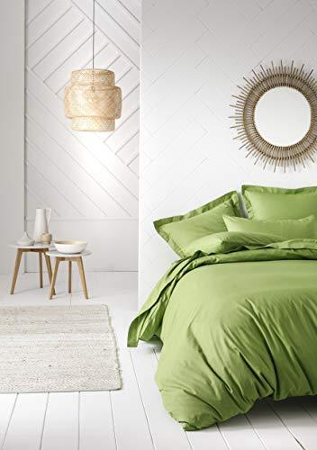 Today Housse de Couette 100% Coton 57 Fils, Vert Bambou, 140 x 200 cm