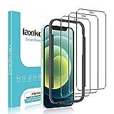 laxikoo Cobertura Completa Protector Pantalla Compatible con iPhone 12 Mini (5,4 Pulgada), [3 Piezas] Cristal Templado Anti-Arañazos [Marco Instalación Fácil] Alta Definicion Dureza 9H Vidrio Templado
