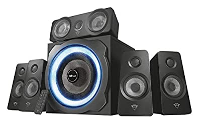 Trust Gaming GXT 658 Tytan 5.1 Surround Sound Speaker System, PC Speakers with Subwoofer, UK Plug, LED Illuminated, 180 W - Black/Blue from Trust